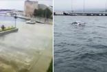 Sinop'ta aracını denize sürerek intihara kalkıştı  o anlar kamerada