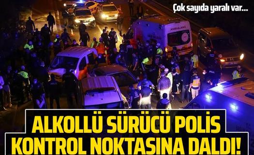 Ankara'da polis uygulama noktasına araç daldı!