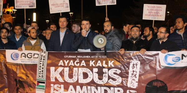 Anadolu Gençlik Derneği üyeleri Kayseri'den İsrail'e veryansın etti