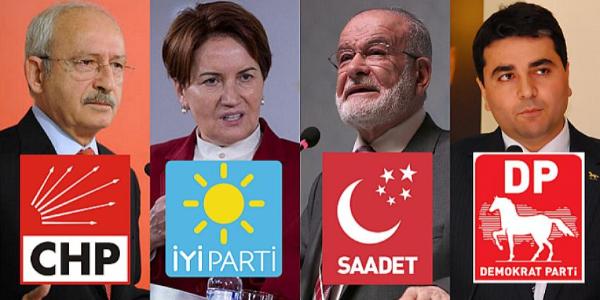 CHP, İYİ Parti, SP ve DP'nin 4'lü ittifak protokolü YSK'ya sunuldu