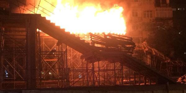 Hızlı tren için çalışma yapılan Bostancı Tren İstasyonu yandı