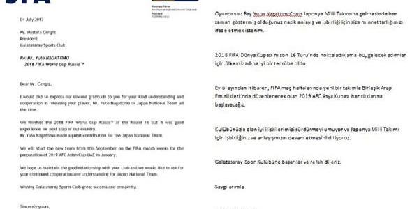 Japonya'dan Nagatomo için Galatasaray'a teşekkür mektubu