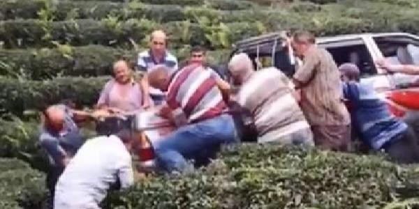 """Rize'de çay tarlasına devrilen kamyonet """"el birliği"""" ile kurtarıldı"""
