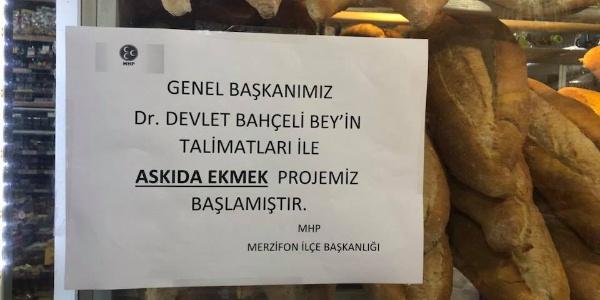 Devlet Bahçeli istedi, Merzifon'da askıda ekmek başladı