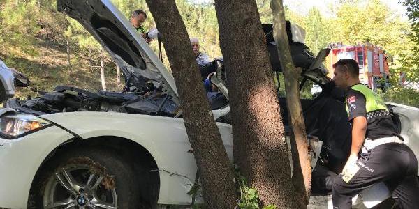 Safranbolu'da ağaca  çarpan otomobildeki 1 doktor ve 3 tekniker yaralandı