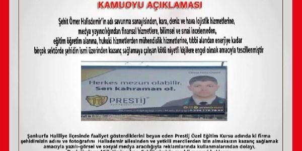 Şehit Astsubay Halisdemir'in adını Şanlıurfa'da reklam malzemesi yaptılar