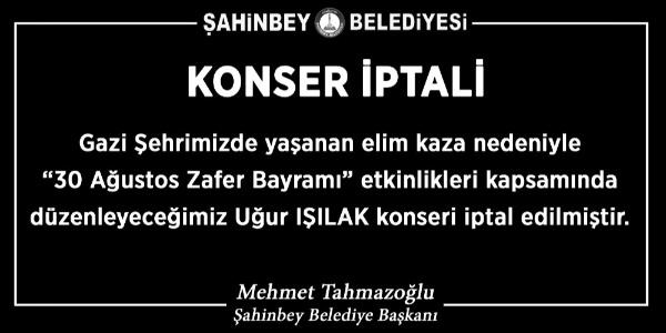 Gaziantep'te 8 ölümlü kaza yüzünden Uğur Işılak konseri iptal edildi