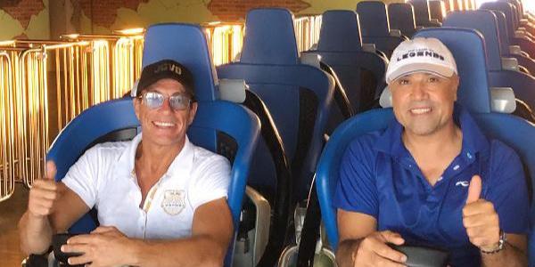 Ünlü oyuncu Jean- Claude Van Damme Antalya'da 'Hyper Coaster'a bindi