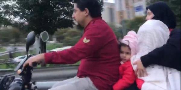 Maltepe'de 4 kişilik ailenin motosikletli seyahati pes dedirtti