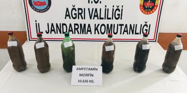 Ağrı'da pet şişeler içerisinde 10 kilo 626 gram eroin ele geçirildi