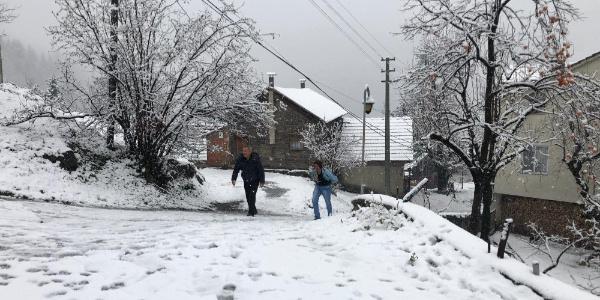 Sakarya'nın yüksek kesimlerini kar beyaz örtüyle kapladı