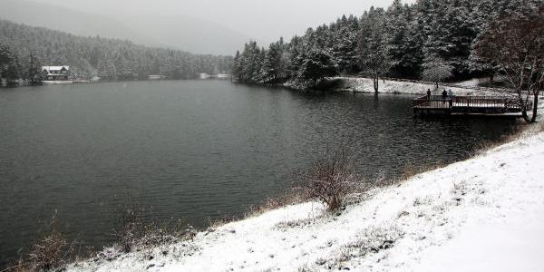 Gölcük Tabiat Parkı kar yağışı ile beyazlara büründü