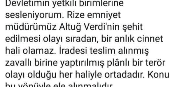 Eski AK Parti Rize Milletvekili Hikmet Ayar'dan Altuğ Verdi'nin şehit edilmesiyle ilgili dikkat çeken paylaşım