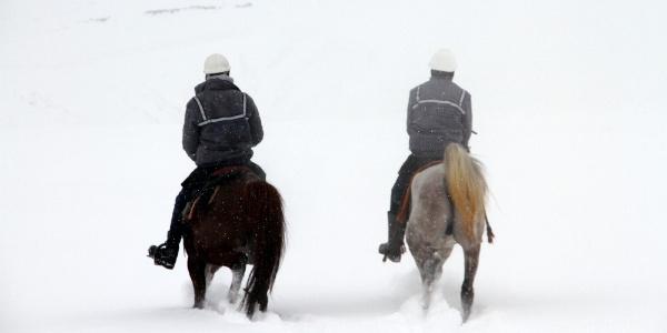 Elektrik arıza ekipleri,kar ve tipinin kapattığı yolları atla aşıyorlar