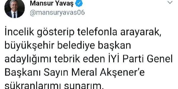 Meral Akşener, Mansur Yavaş'ı telefonla aradı, tebrik etti