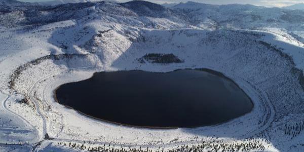 Kapadokya'nın 'kalbi' Narlı Göl'de kış