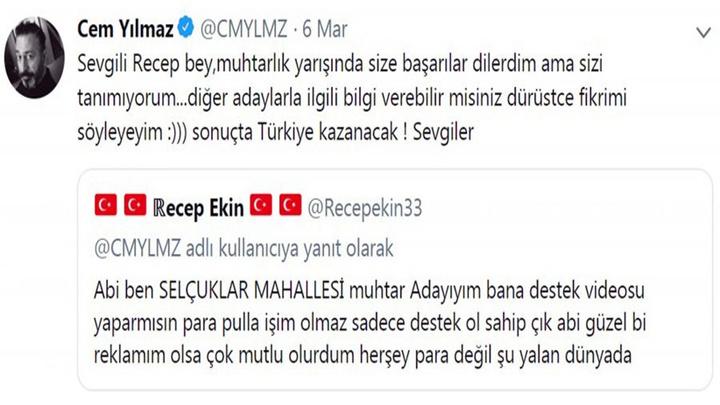Mersinli muhtar adayı Cem Yılmaz ile sosyal medyadan iletişime geçti, ünlü komedyeni mangala davet etti