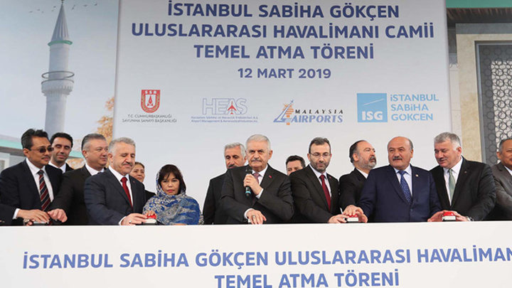 AK Parti İstanbul Büyükşehir Belediye Başkan Adayı Binali Yıldırım, Sabiha Gökçen Havalimanı Camii'nin temelini attı