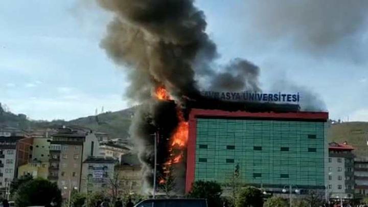 Trabzon'da Avrasya Üniversitesi'nde yangın çıktı; bina tahliye edildi