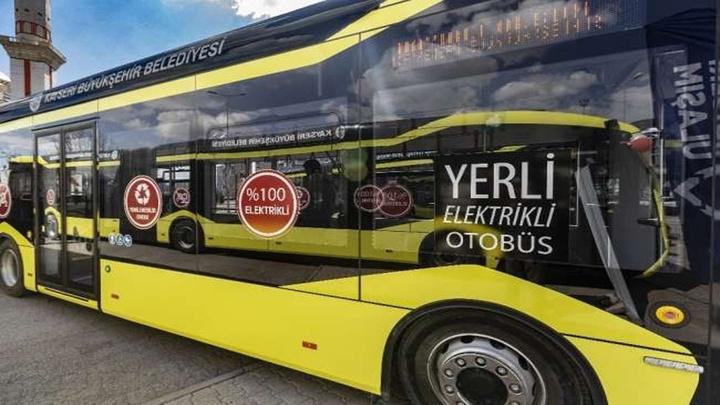 Kayseri Büyükşehir Belediyesi 6 adet elektrikli otobüsü ulaşım ağına dahil etti