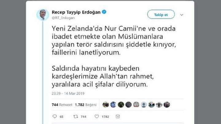 Cumhurbaşkanı Recep Tayyip Erdoğan, Yeni Zelanda'da Nur Camii'ne yönelik saldırıyı kınadı
