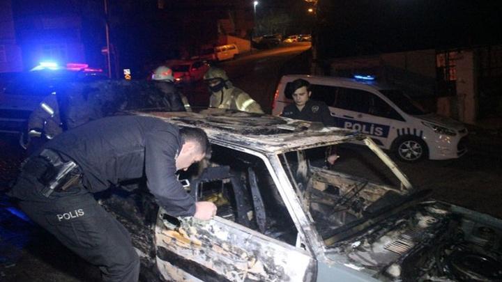 Eski koca aracı kundakladı, polis olayla ilgili inceleme yapıyor