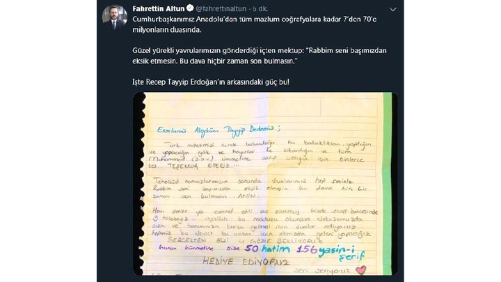 Cumhurbaşkanı İletişim Başkanı Fahrettin Altun, Cumhurbaşkanı Erdoğan'a gelen mektubu paylaştı