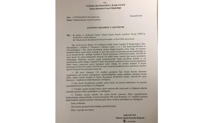 YSK Olağanüstü toplantısı sonucu İstanbul'da 7 ilçede oy sayım durdurma kararını kaldırdı