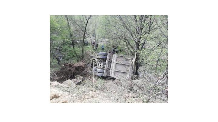 Artvin'de hafriyat kamyonu uçuruma yuvarladı, sürücü hayatını kaybetti