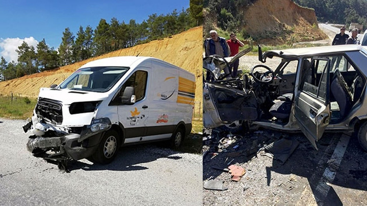 Muğla'da minibüs ile otomobil çarpıştığı kazada 2 kişi yaralandı.