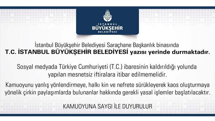 İBB'den Atatürk Portresi ve belediye binasının girişinde yer alan T.C. ibaresine dair açıklama