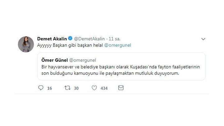 Demet Akalın'dan Kuşadası Belediye Başkanı'na teşekkür