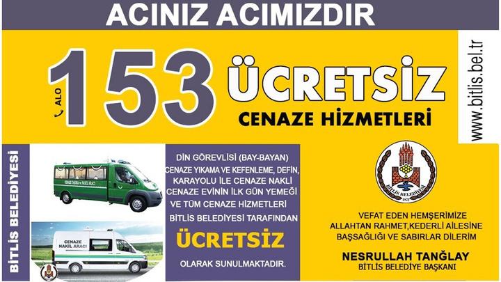 Bitlis Belediyesi cenaze işlemlerine dair her türlü hizmeti ücretsiz sağlayacak