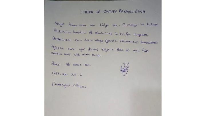 Tarım ve Orman Bakanı  Bekir Pakdemirli'ye ilkokul öğrencisinden mektup