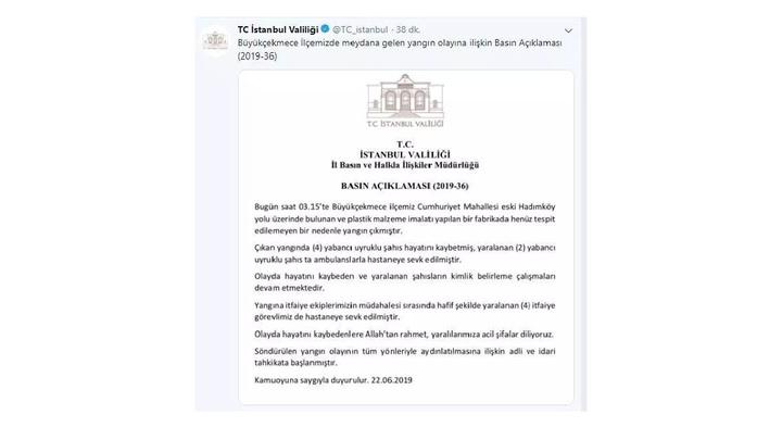 İstanbul Valiliği'nden açıklama: Büyükçekmece'deki fabrika yangınında 4 kişi hayatını kaybetti
