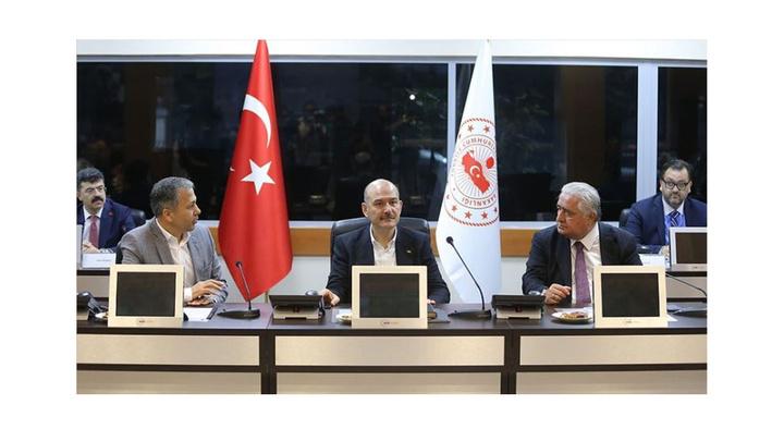 İçişleri Bakanı Süleyman Soylu, Seçim Güvenlik Koordinasyon Merkezinde toplantıya katıldı