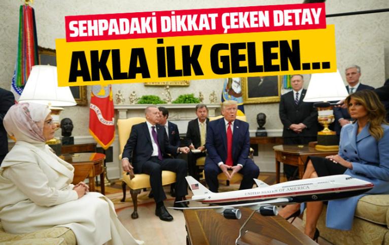 Erdoğan-Trump görüşmesinde uçak maketi detayı