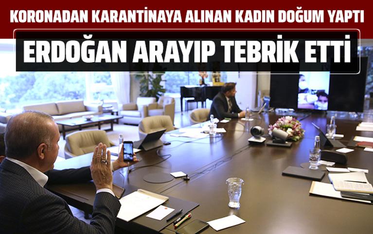 Erdoğan karantina sürecinde doğum yapan Sevda Gül'ü tebrik etti