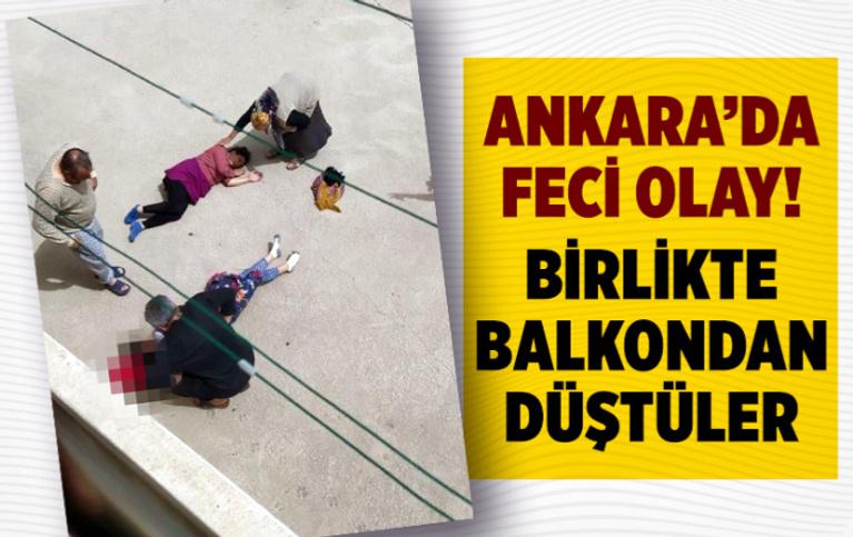Ankara'da gelin ve görümce balkondan düştü