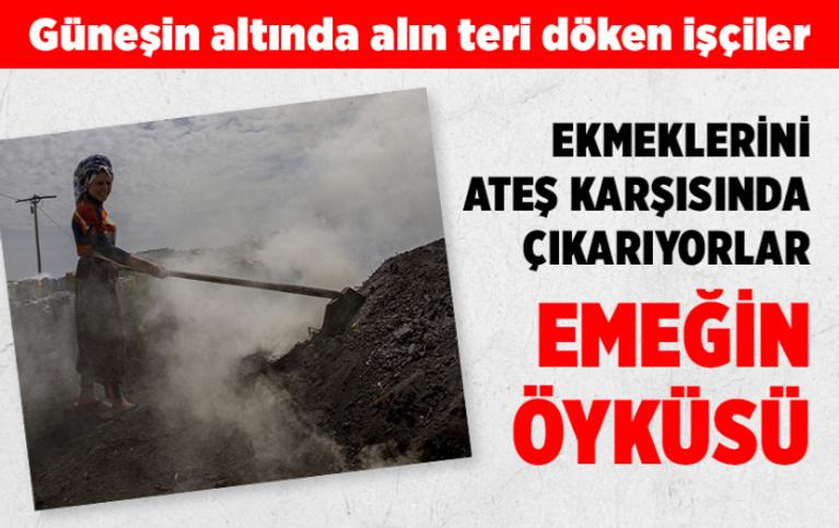 Diyarbakır'da ateş karşısında alın teri döken işçiler meşe odununu mangal kömürüne dönüştürüyor