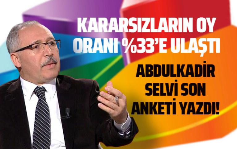 Kararsızların oy oranı yüzde 33'e ulaştı: Abdulkadir Selvi son anketi yazdı